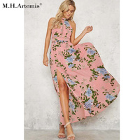 M H Artemis Maxi Dress Women Sexy Backless Floral Print Summer Dress Cotton Halter Back Tie