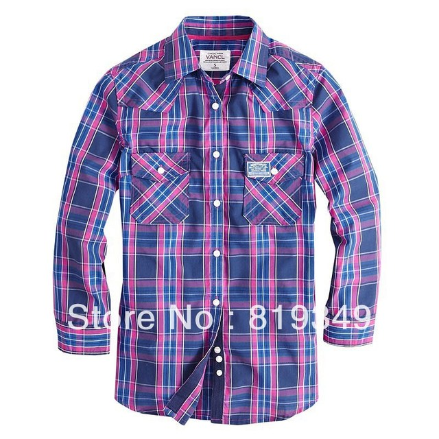 2013 New Arrival VANCL Women's Charity Twin-Pocket Plaid Shirt 3/4 Sleeves Slim Casual Tee Pink/Blue Orange/Blue FREE SHIPPING