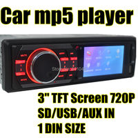 3'' inch TFT HD screen car mp5 radio player USB SD aux in radio tuner with remote control,1 din car audio stereo mp5, Car player