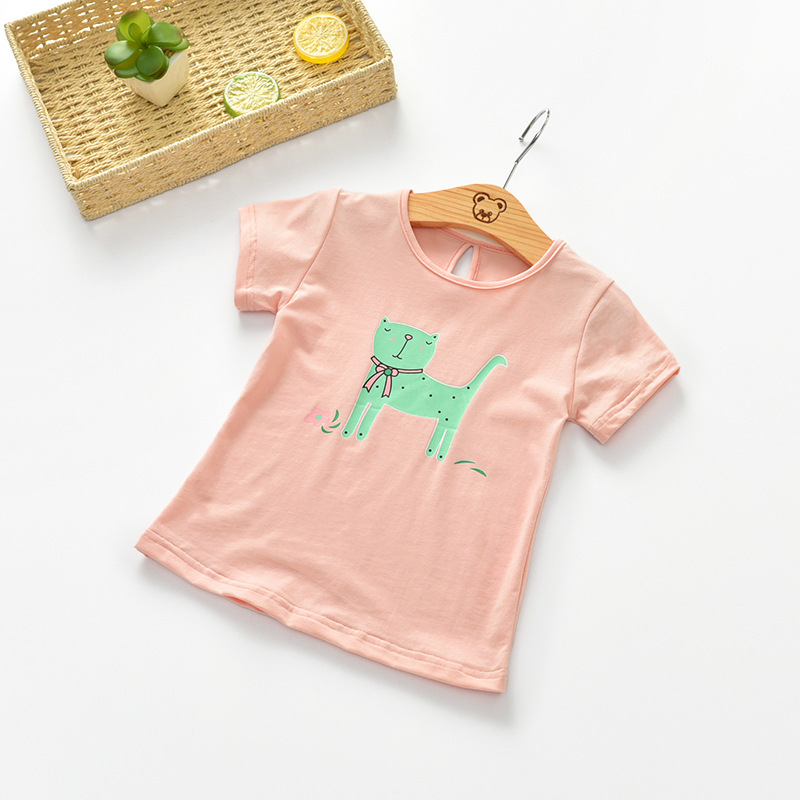 RUBU Summer Toddler Kids tshirt Girls Boys Casual Cartoon t shirt Children Short Sleeve T-shirt Cotton Top Tees For Kids 2-7Y