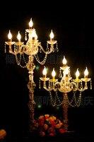 10 pieces/100 cm de Altura 6 braços cheios de acrílico cristal peça central do casamento/candelabros para o casamento/casamento castiçal/Suporte de vela