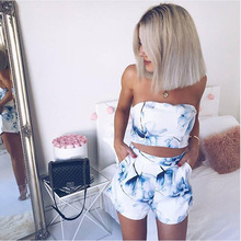 Elegant Off Shoulder Sexy 2 Piece Jumpsuits Chic Blue Floral Print Summer Romper Casual Beach Two-piece White Short Overalls