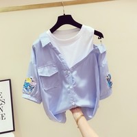 Summer Stripe Shirt Woman 2019 New Korean Fake Twopiece Striped Embroidered Half Sleeve Blouse Women's Off Shoulder Shirts Tops