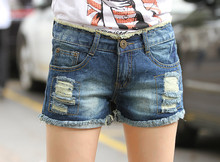The New Han Edition  Summer 2017 Hole Bigger Sizes Loose Jean Shorts Female Students Cultivate One's Morality Hot Pants