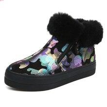 Зимние сапоги модные зимние ботинки плотная теплая Высокая Женская обувь Сапоги и ботинки для девочек