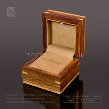 High Quanlity Square Wood Box With Light Fashion Romantic Jewelry Ring Boxes Coffee Color Gift Box W026