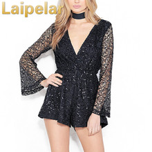 Sexy lace gold sequin jumpsuit romper Women hollow out long flare sleeve overalls Summer 2018 deep v neck black playsuit club black sexy v neck lace details playsuit