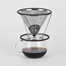Stainless Steel Coffee Filter Coffee Dripper Pour Over Coffee Maker Drip Reusable Coffee Filter