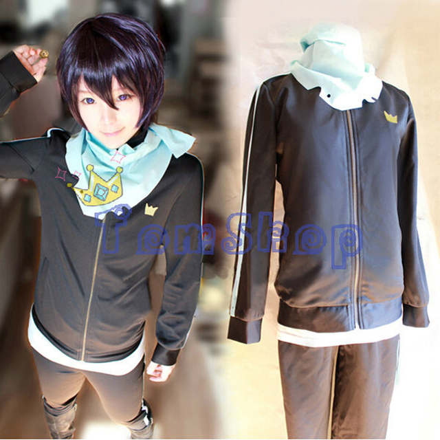 Hot Anime Noragami Yato Cosplay Costume Jacket Suit Sportswear Whole Set (Coat + Pants + Scarf) Free Shipping
