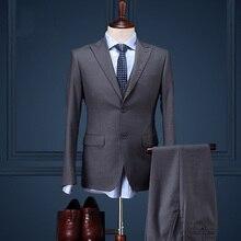 30%Wool brand clothing men formal business wedding groom suit sets solid single breasted coat+vest+pant men sli fit prom suits