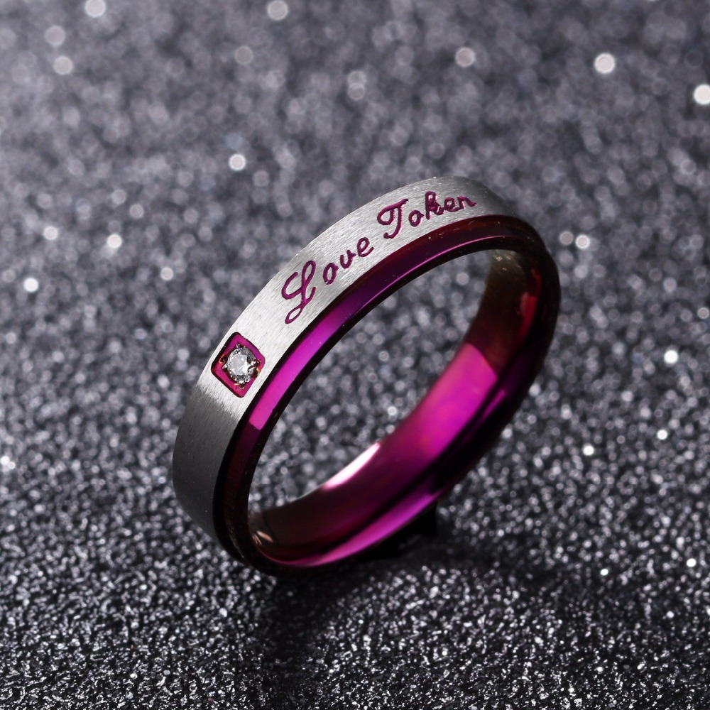 Seanuo Sexy Purple Love Forever Stainless Steel Couple Ring Jewelry Fashion Korean Crystal Women Wedding Ring Men Promise Rings