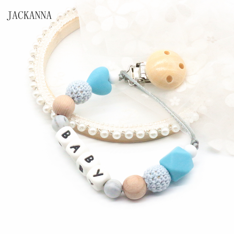 Lovely Custom Name Diy Baby Pacifier Clips Holder Chain Newborn Baby Dummy Clips Shower Gifts Eco-friendly Baby Feeding Accessories Nipple & Accessories