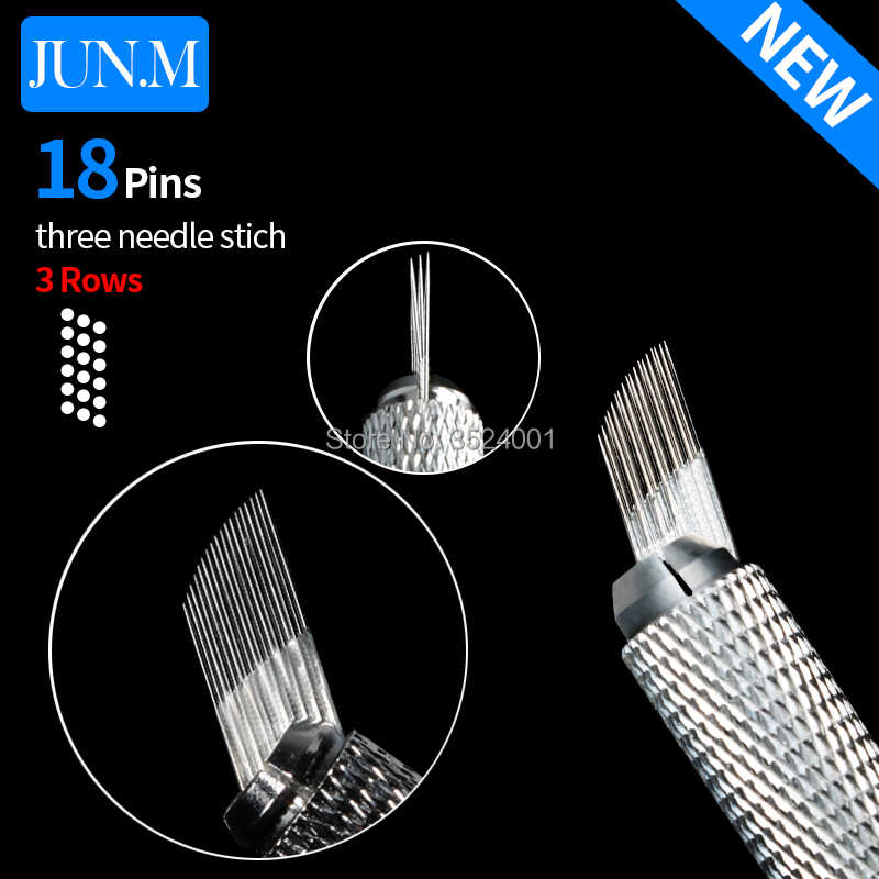 Free Shipping 50 Pcs new 3 rows Line 18Pin Needle Permanent Eyebrow Makeup Needle Blades For Microblading Pen Manual Embroidery