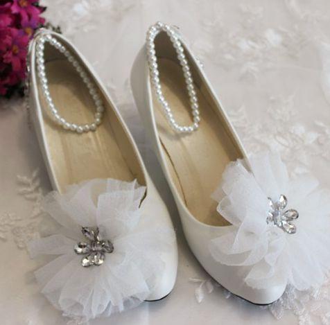 Blanc Fleur Cristal Strass Chaussures De Mariage Femmes Doux A La