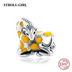 2018 New Arrivals Animal Giraffe Beads Fit pandora Bracelets Silver 925 Charms Yellow Enamel Sterling-Silver-Jewelry For Gifts