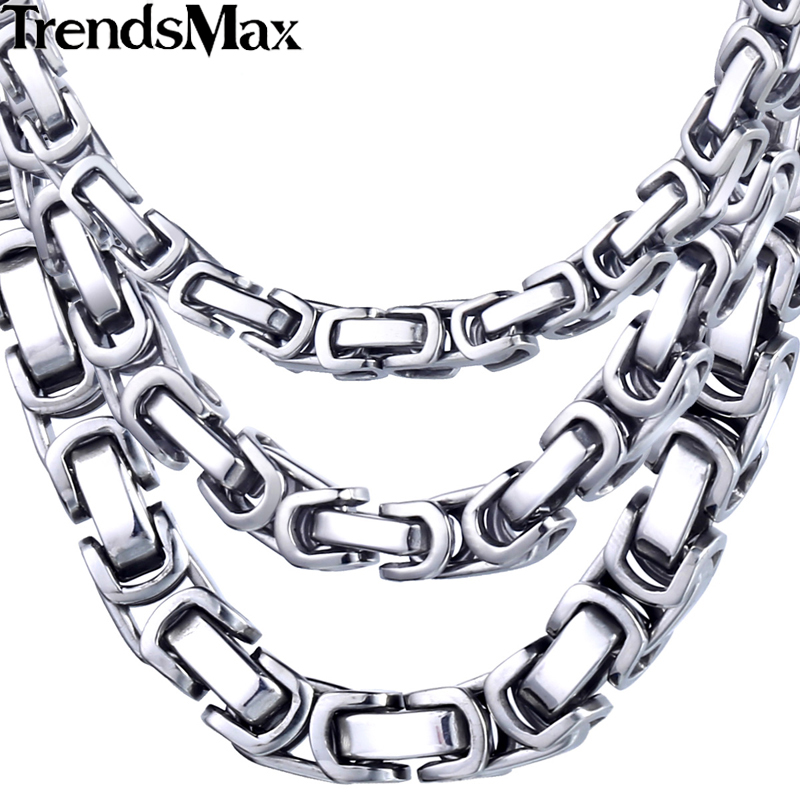 Trendsmax Custom ANY Length 5 6 8mm Byzantine Box Mens Chain Boys Stainless Steel Necklace Fashion