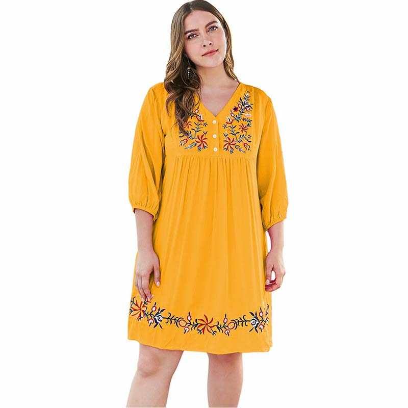 WHZHM Plus Size 3XL 4XL Flower Embroidery Dress Women V-Neck Party Half Sleeve Beach Vestidos de fiesta de noche Dress Ladies