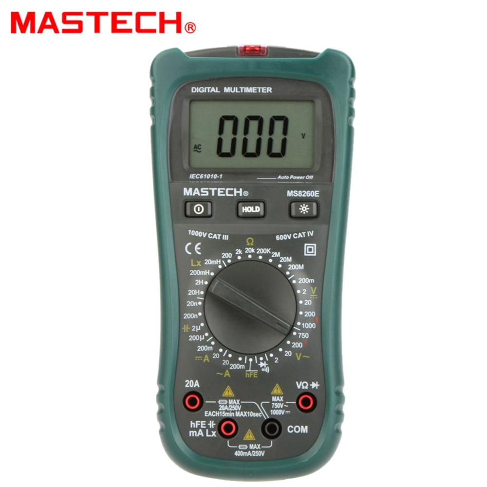 MASTECH MS8260E Digital Multimeter LCR Meter AC DC Voltage Current Capacitance Inductance Tester  lutron lcr 9083 digital lcr meter