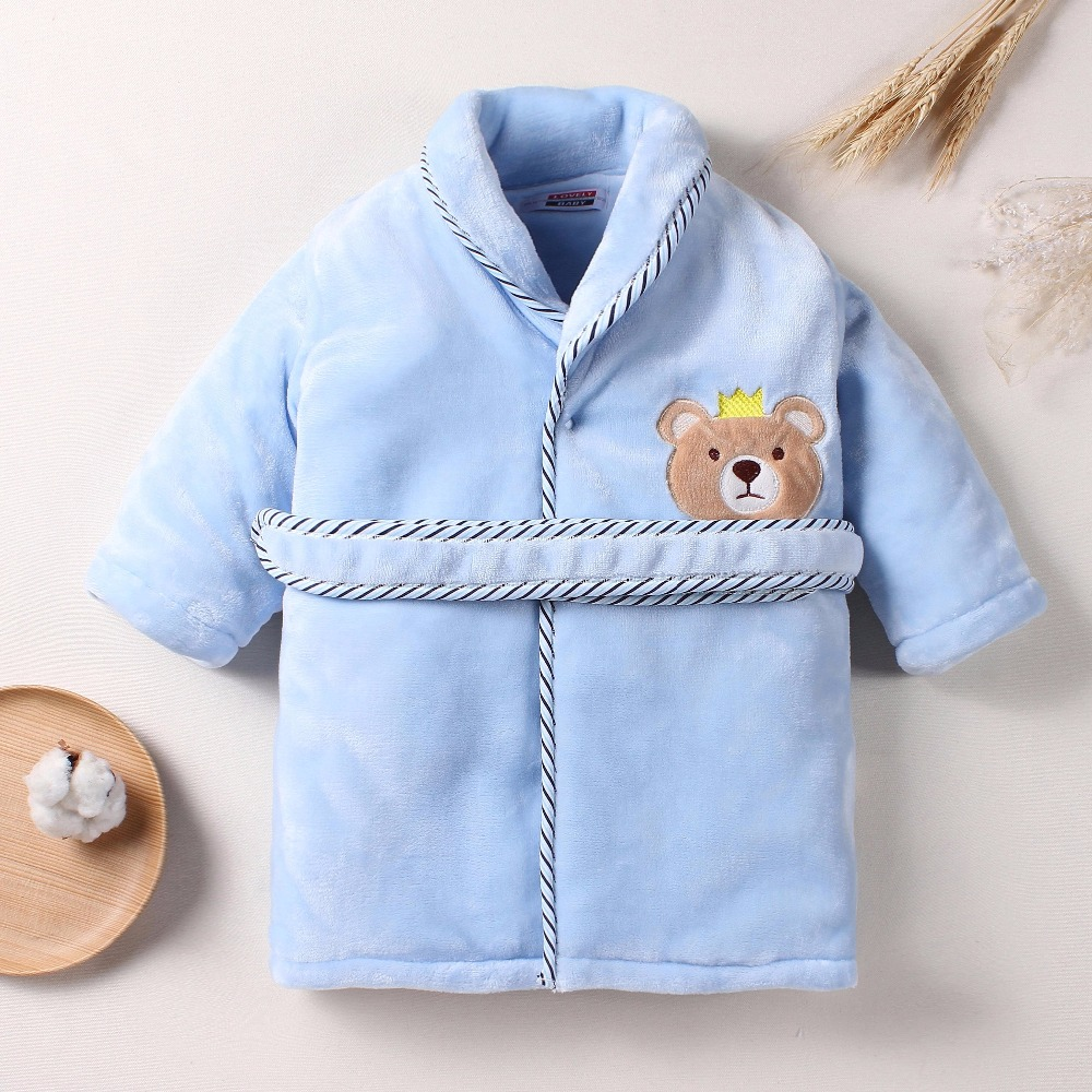 Children's winter nightgown Home Pajamas little bear cartoon Baby Bathrobe free shipping