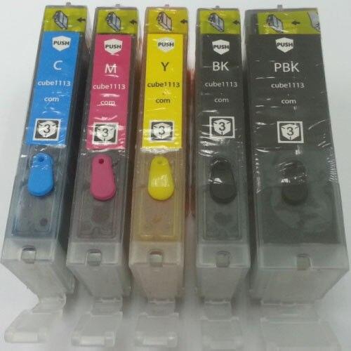5 x cartouche d'encre comestible PGI-250 CLI-251 pour Canon MG5420 MG6320 IP7220 MX722 imprimante