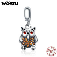 WOSTU Popular 925 Sterling Silver Animal Charm Cute Owl Pendant Charm Beads Fit Women Bracelet Necklace