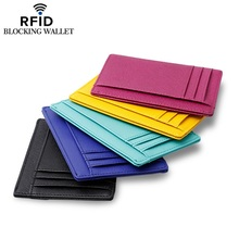 Leather cross pattern womens ultra-thin mens multi-card RFID card holder coin purse wallets