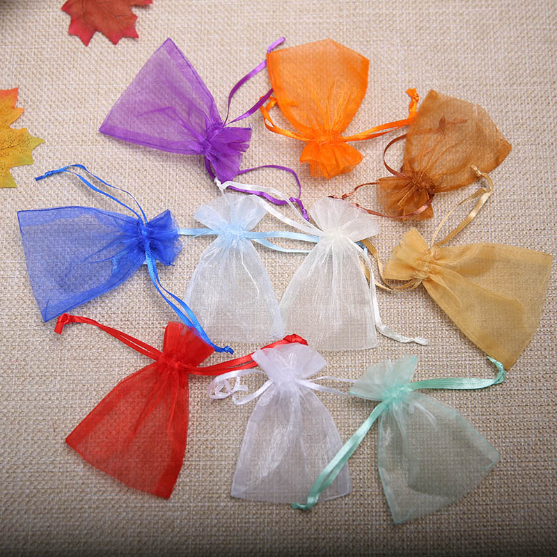 10 15cm 100pcs lot White Blue Organza Gift Bag Organza Jewelry Drawstring Pouch Jewelry Packaging
