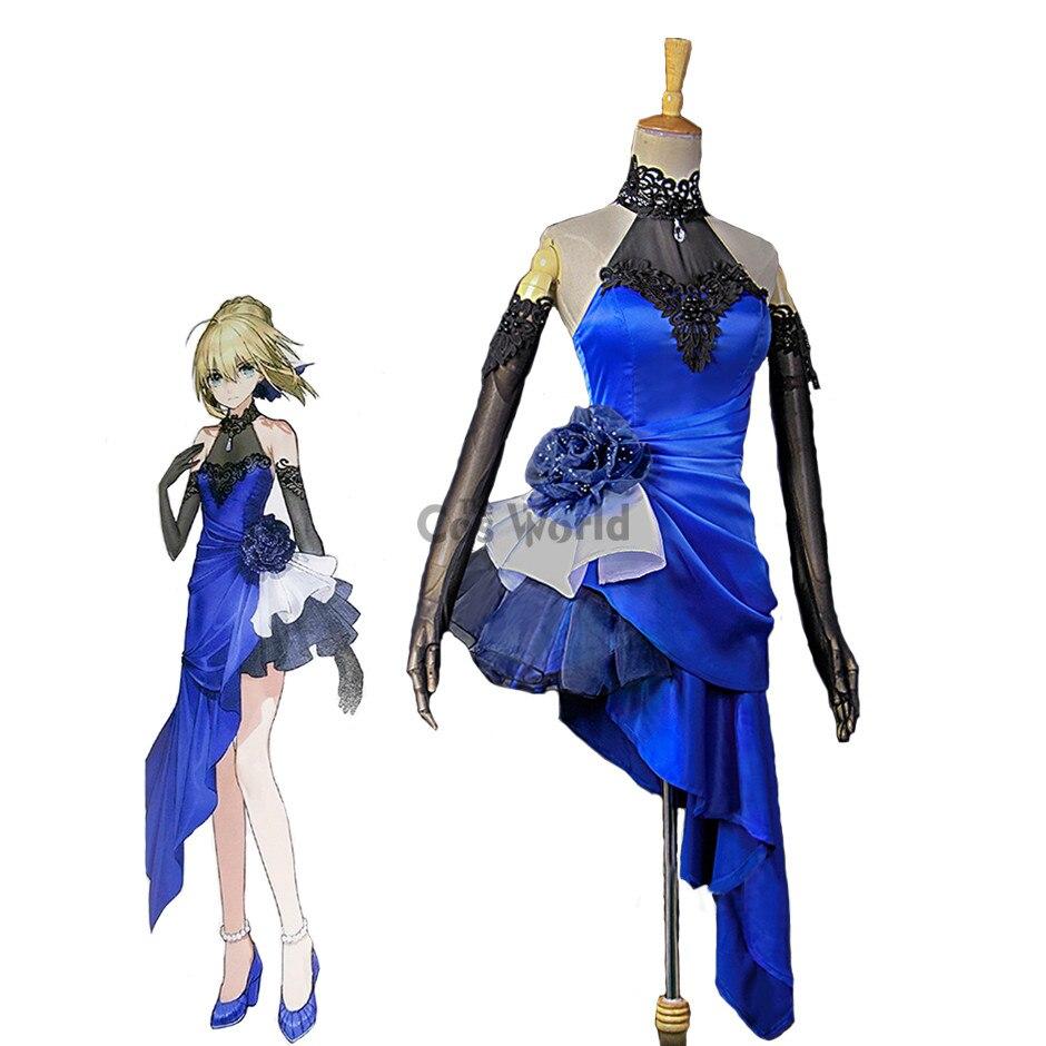 FGO Fate Extella Saber, длинное платье, формальное платье, униформа, костюм аниме, костюмы для косплея