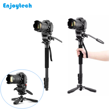 Portable Lightweight Aluminum Alloy Professional Monopod with Gimbal for DSLR Digital Camera Monopod with Mini Tripod for camera