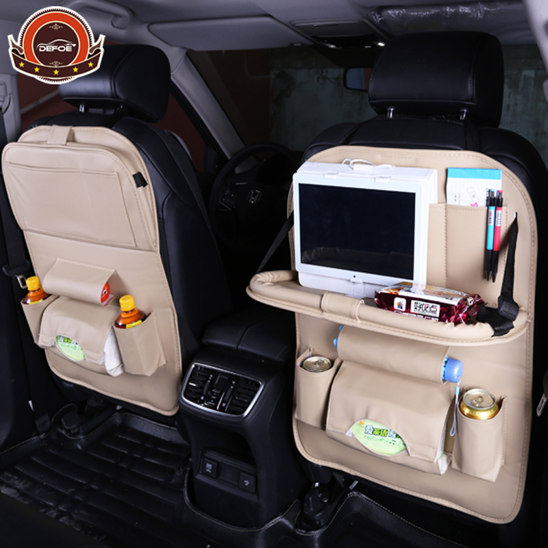Top quality Car seat cover seat back fold Dining rack car seat storage bag Car Multifunction vehicle storage box car seat cover