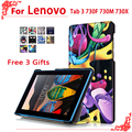 For Lenovo Tab 3 730F 730M 730X 7 inch tablet High Quality cases for Lenovo TB3-730F TB3-730M Pu Leather Case Cover+free 3 gifts
