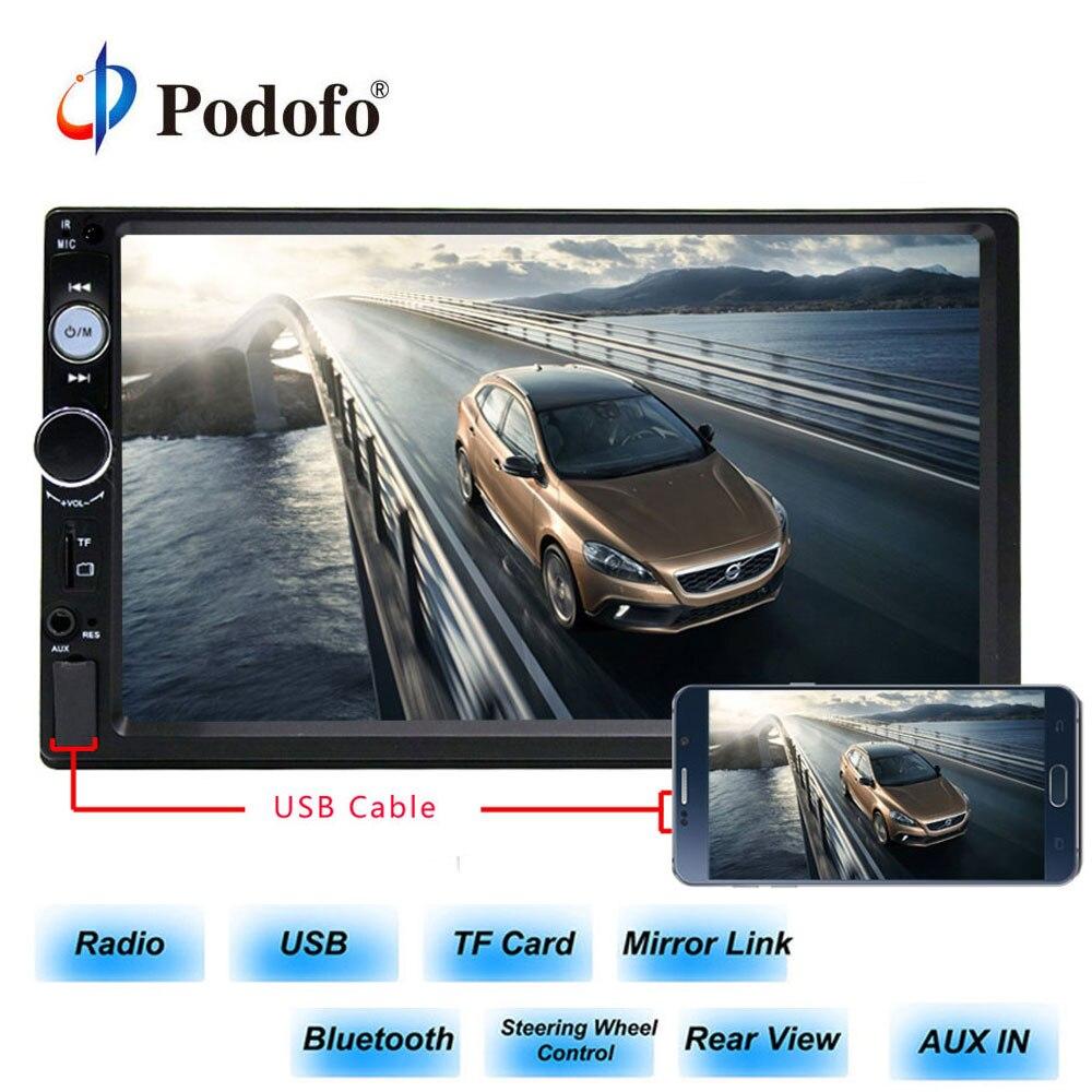 Podofo 2din автомобиля Радио 7 hd-плеер MP5 Сенсорный экран цифровой Дисплей Bluetooth USB Multimedia Зеркало Ссылка резервного копирования Камера Авторадио