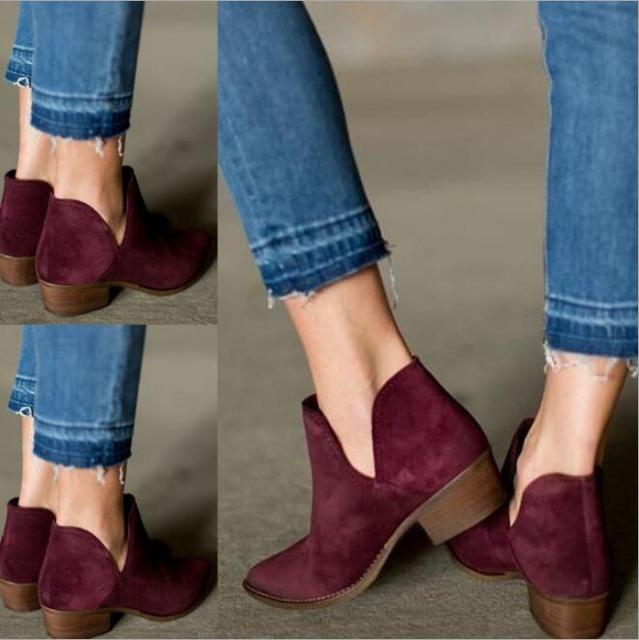 0530539d41f85 SLHJC Women's Faux Suede Boots Side - Slit Casual Med Chunky Heel Short Ankle  Booties Ladies Pointed Toe Slip On Large Size