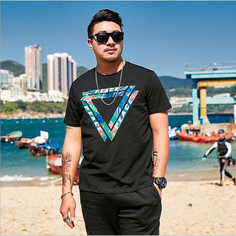 2019 Oversize Large Size Men's Short Sleeves Printed T Shirts Male Fat Guy Summer Big and Tall Mens Tee Clothes Plus XL 6XL 33