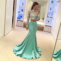 2 Pieces Mermaid High Neck Long Sleeves Lace Evening Dress