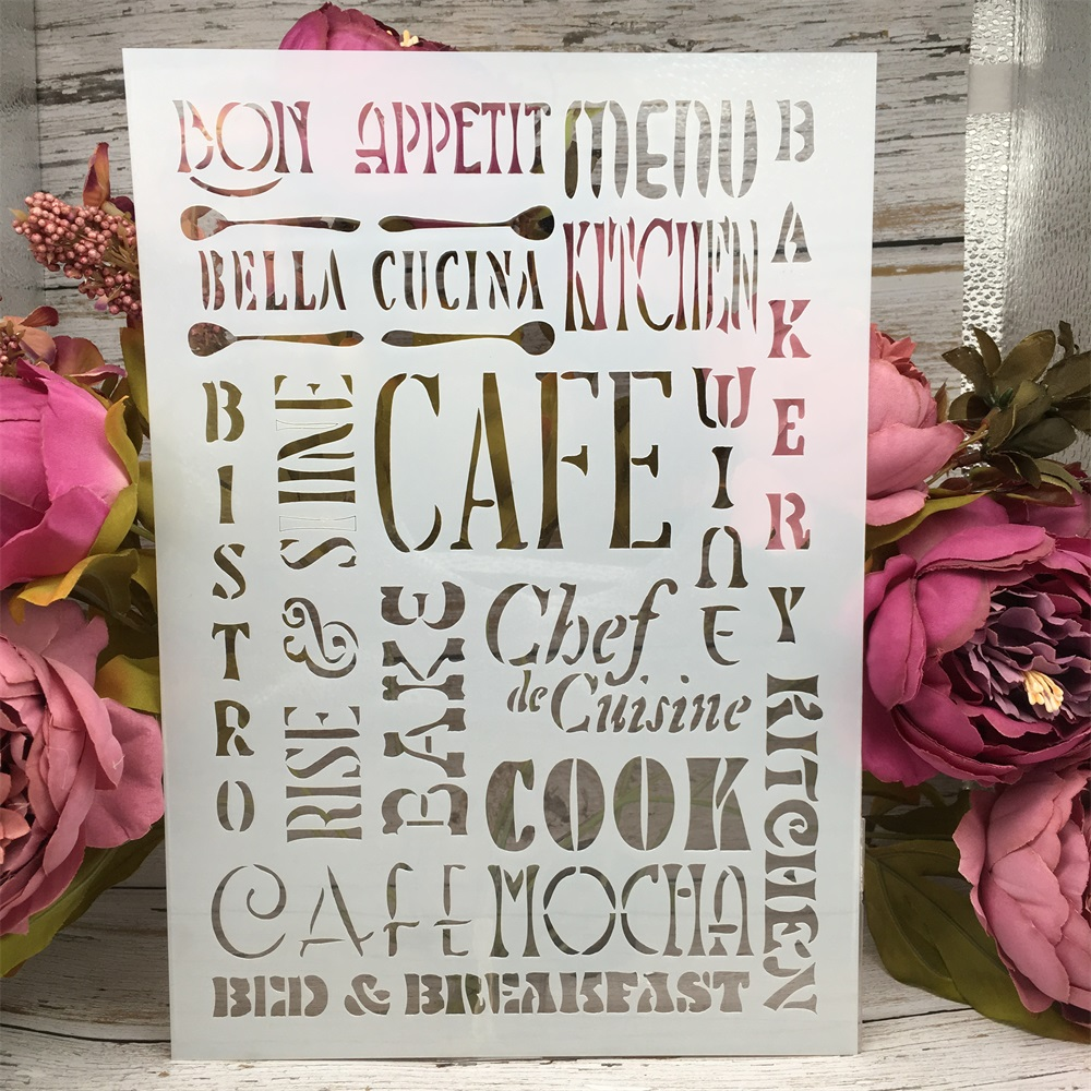 A4 29cm CAFE Words DIY Layering Stencils Wall Painting Scrapbook Coloring Embossing Album Decorative Paper Card Template