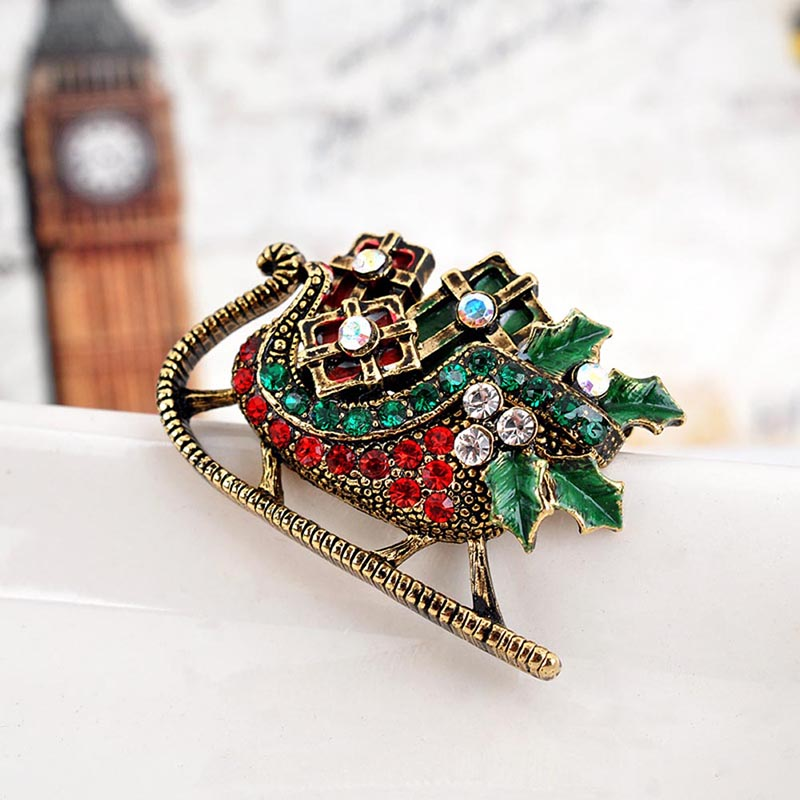 New Fashion Women Brooches Christmas Phoenix Sleigh Brooch Pins Cute Alloy Rhinestone Co ...