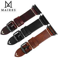 MAIKES Genuine Leather Watch Strap Fashion Red For Apple Bands 44mm 40mm 42mm 38mm Series 4 3 2 Watchband iWatch Bracelet