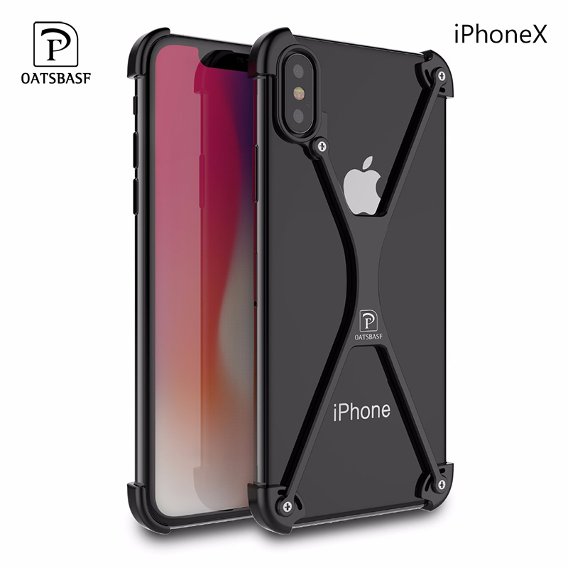 OATSBASF X Shape Case For IPhone X Personality Shell For IPhone 7 8 Plus Case Luxury Metal Bumper Cover With Gift Glass Film