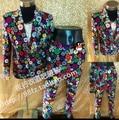 Homens ternos de vestido de discotecas palco impresso fino Bar DS trajes cantor DJ custom made VSTINUS