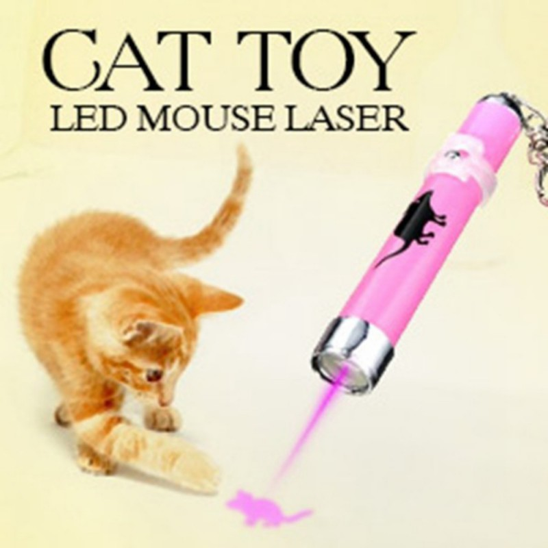 Portable Creative and Funny Pet Cat Toy LED Laser Pointer light Pen With Bright Animation Mouse Shadow New Замок