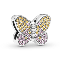 2019 Garden Reflexions Bedazzling Butterfly Clip Charm fits Pandora Reflexions Bracelets Charms Silver 925 Original Insect Beads