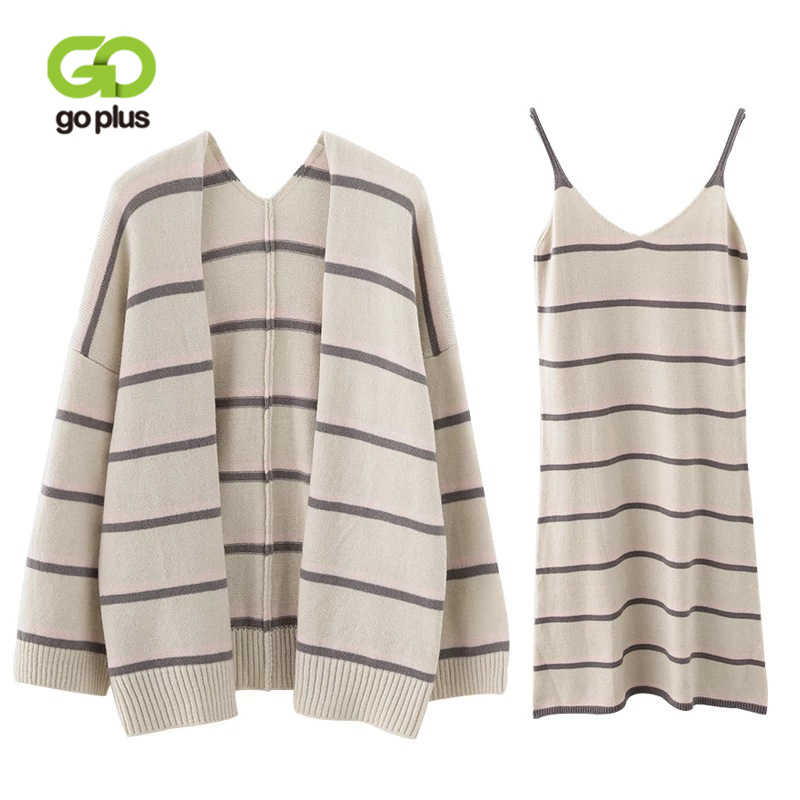 3a2893035c GOPLUS Two Pieces Set Autumn Woman Striped Strap Dress Suit Women 2019 New  Fashion Cardigan Dress