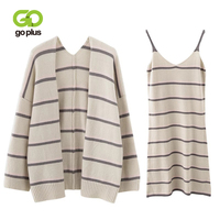 GOPLUS Two Pieces Set Autumn Woman Striped Strap Dress Suit Women 2019 New Fashion Cardigan Dress Set Knit Suit Set Female C6527