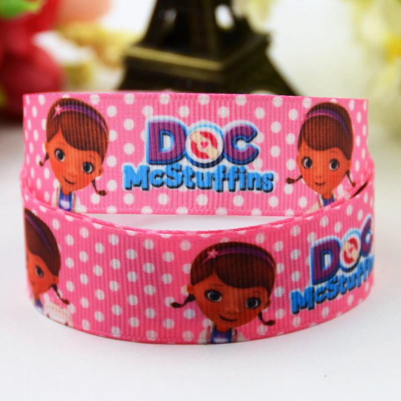 7/8 (22mm) Doc McStuffins Cartoon Character printed Grosgrain Ribbon satin ribbons Party decoration OEM X-00385 10 Yards