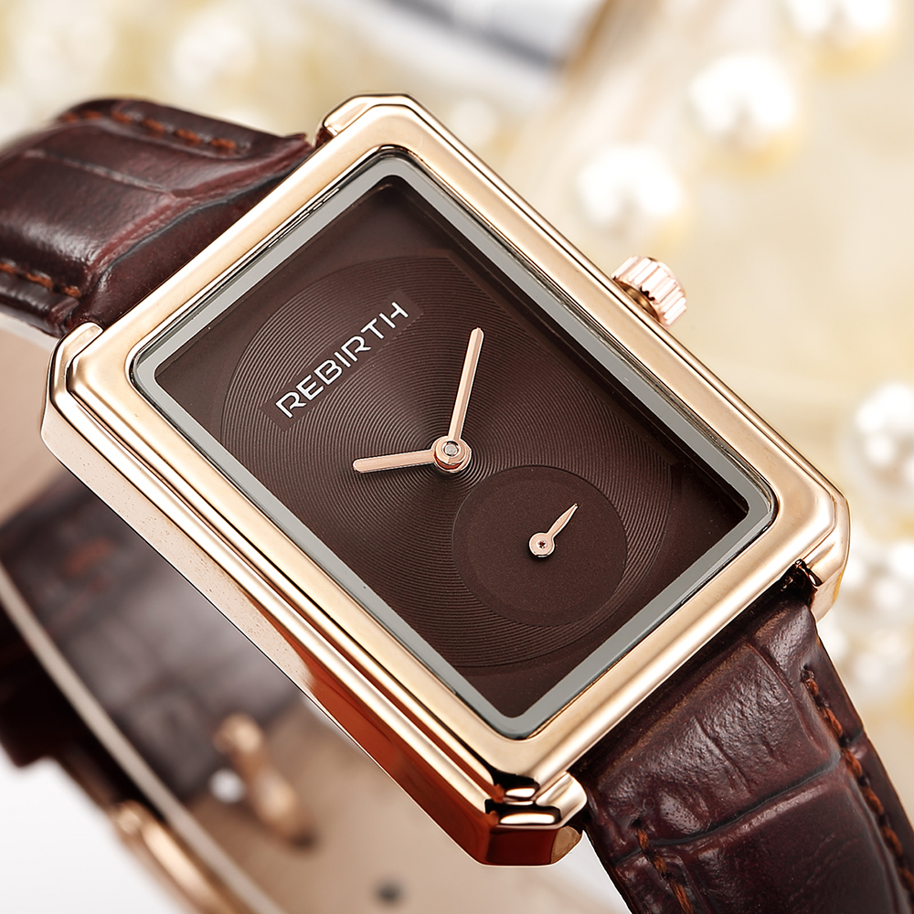 REBIRTH Fashion Women Watches Luxury Brand Casual Rectangle Ladies Quartz Clock Leather Band Wristwatches Clock Montre Femme