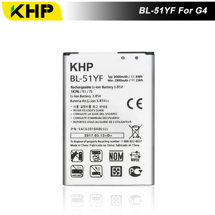 2017 KHP NEW 100% BL-51YF <font><b>Phone</b></font> Battery For LG G4 H815 H818 H810 VS999 F500 Real <font><b>3000mAh</b></font> High Quality Mobile Replacement Battery