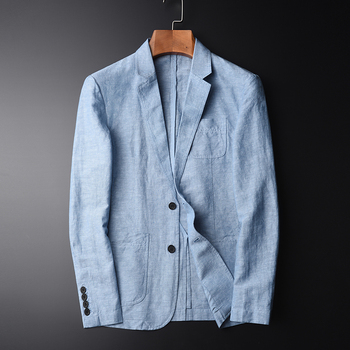 TANG High Quality New Arrival Blazer Man New Linen Suit Jacket Autumn Casual Mianma Male Single Breasted Size M-L-XL-2XL-4XL