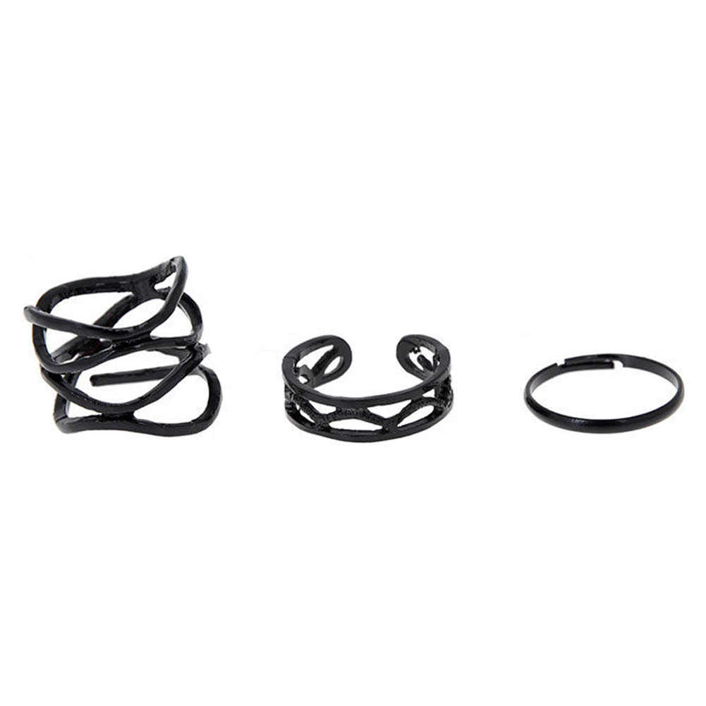 Korean Style Fashion Black Paint Hollow Ring 3pcs/set  High Quality Finger Joints Three Piece Ring Set