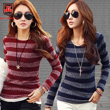2017 New T-shirt Women Long Sleeve O-neck T Shirt Sweet Fashion Classic Stripe Print Cotton T-shirts Autumn Winter Tops